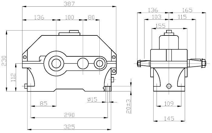 Габаритные и присоединительные размеры редуктора 1Ц2У-100