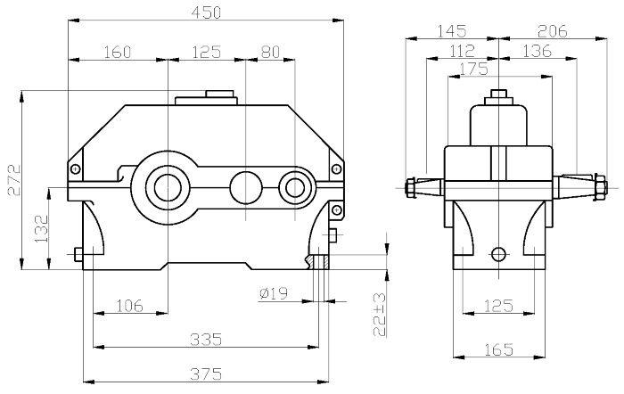 Габаритные и присоединительные размеры редуктора 1Ц2У-125