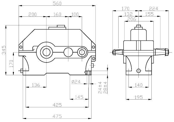 Габаритные и присоединительные размеры редуктора 1Ц2У-160