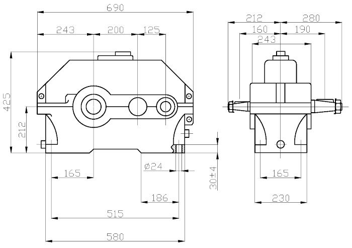 Габаритные и присоединительные размеры редуктора 1Ц2У-200