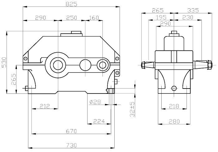 Габаритные и присоединительные размеры редуктора 1Ц2У-250