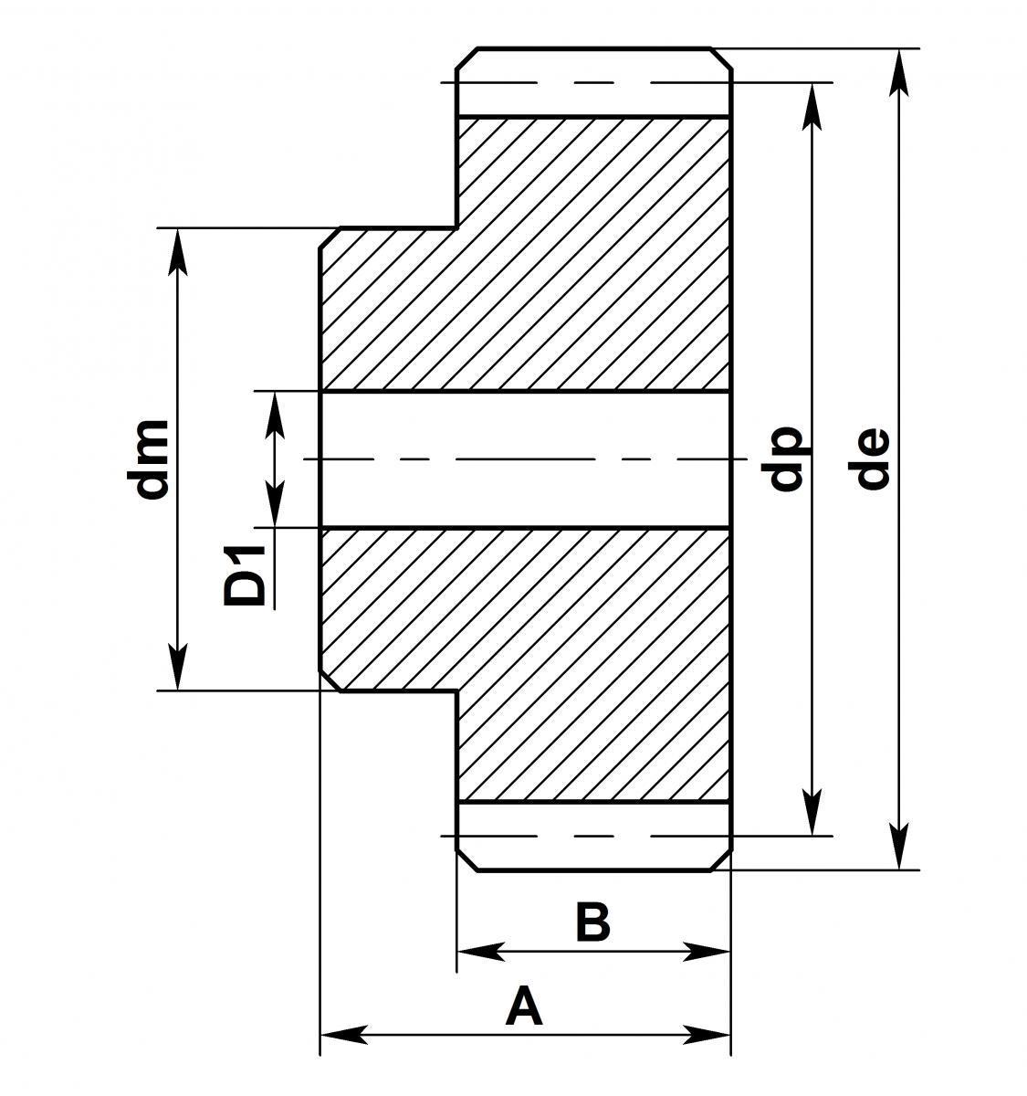 Колесо прямозубое (шестерня) схема