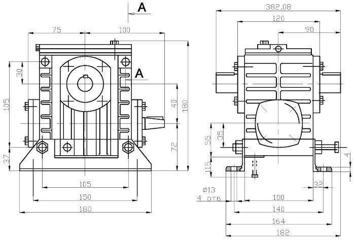 Габаритные и присоединительные размеры редуктора 2Ч-40