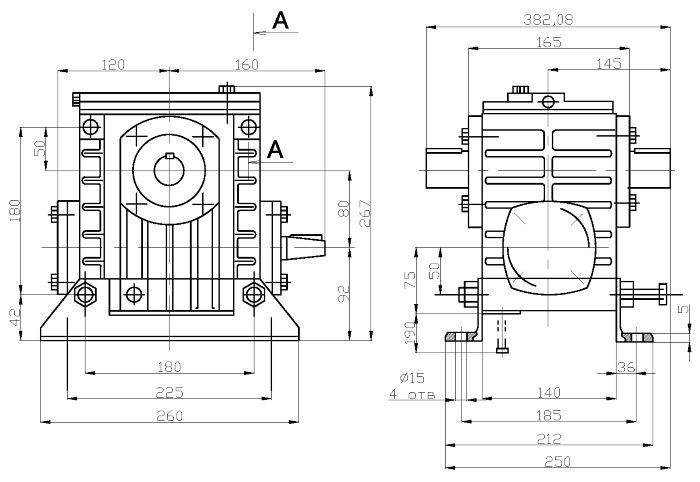 Габаритные и присоединительные размеры редуктора 2Ч-80