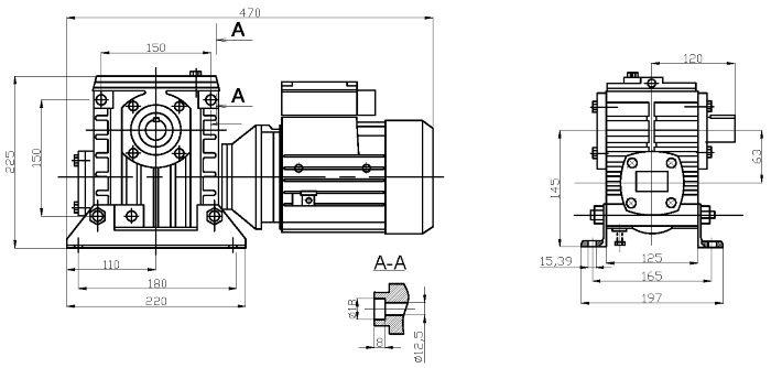 Габаритные и присоединительные размеры мотор-редуктора 2МЧ-63