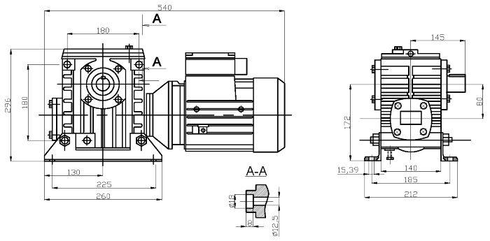 Габаритные и присоединительные размеры мотор-редуктора 2МЧ-80