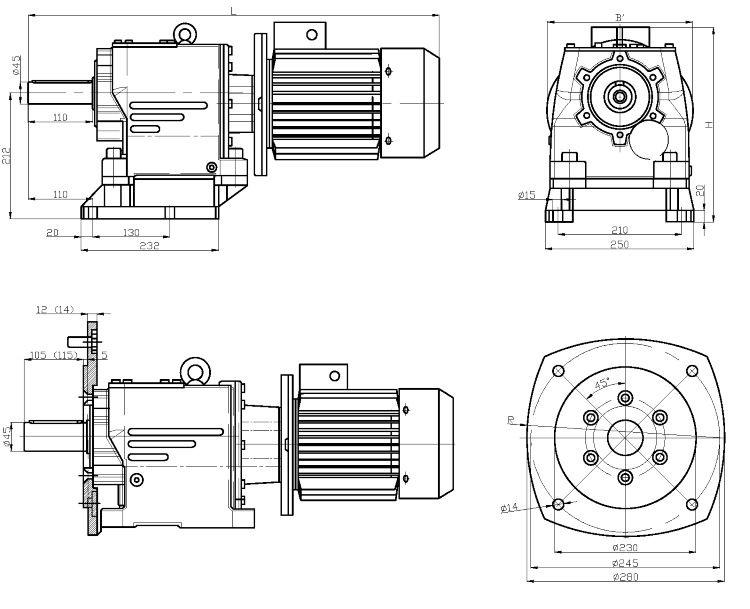 Габаритные и присоединительные размеры мотор-редуктора 4MC2S100