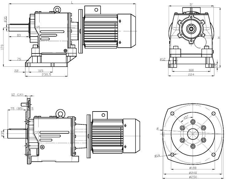 Габаритные и присоединительные размеры мотор-редуктора 4MC2S-80