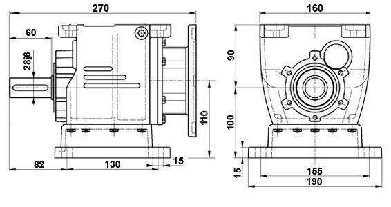 Габаритные и присоединительные размеры мотор-редуктора 5МП-31,5