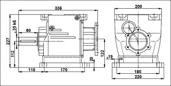 Габаритные и присоединительные размеры мотор-редуктора 5МП-40