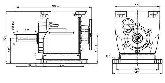 Габаритные и присоединительные размеры мотор-редуктора 5МП-50