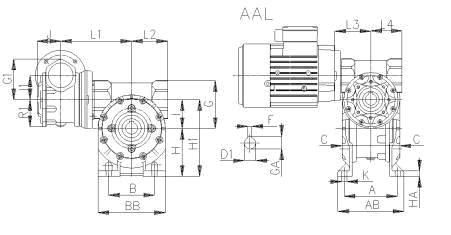 Габаритные и присоединительные размеры AAL