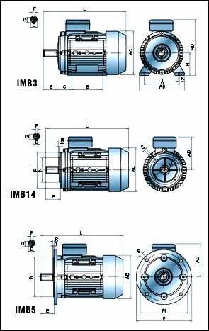 Габаритные и присоединительные размеры однофазных электродвигателей Able MY