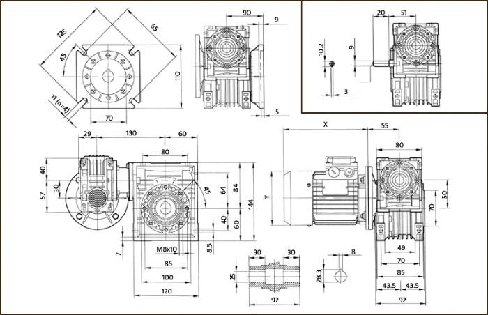 Чертеж червячного мотор-редуктора DRV 030/050