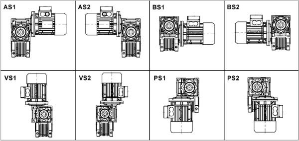 Монтажные позиции мотор-редуктора DRV