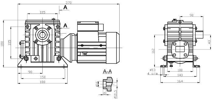 Габаритные и присоединительные размеры мотор-редуктора 2МЧ-40