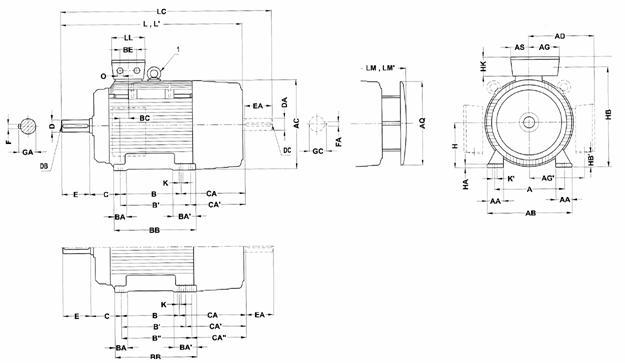 Габаритные и присоединительные размеры 1LG4 (лапы. 180M-315L)