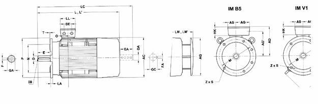 Габаритные и присоединительные размеры 1LG4 (фланец. 180M-315L)