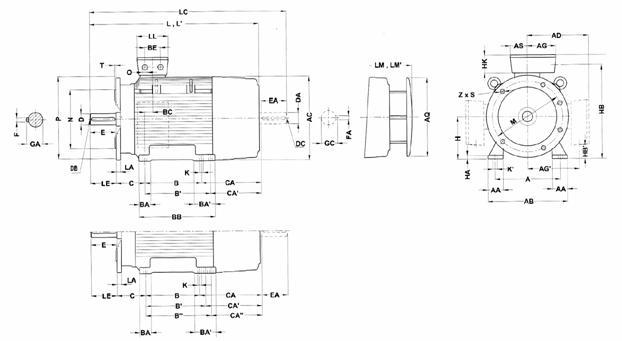Габаритные и присоединительные размеры 1LG4 (лапы-фланец 180M-315L)