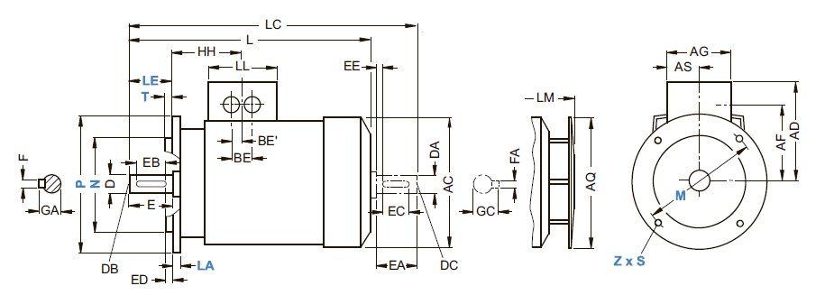 Типы исполнения IM B5 и IM V1 - чертеж