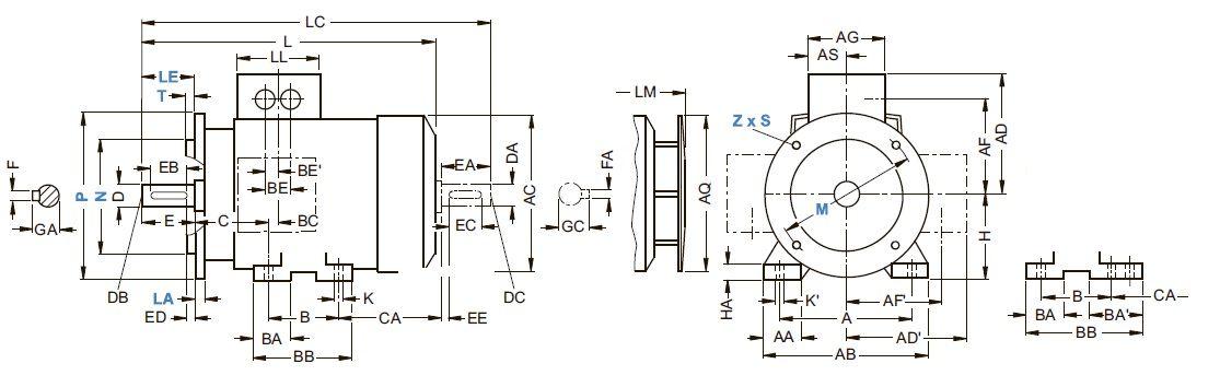 Тип исполнения IM В35 - чертеж