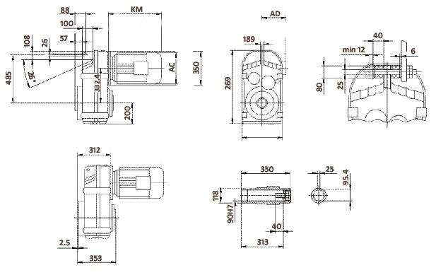 Размеры мотор-редуктора FA107 (полый вал)