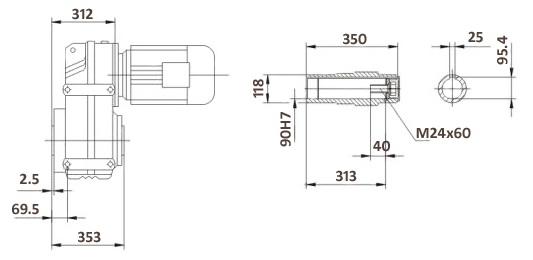 Размеры мотор-редуктора FA107B (лапы / полый вал)