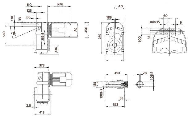 Размеры мотор-редуктора FA127 (полый вал)