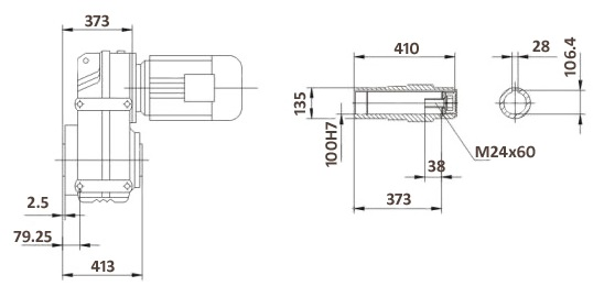 Размеры мотор-редуктора FA127B (лапы / полый вал)