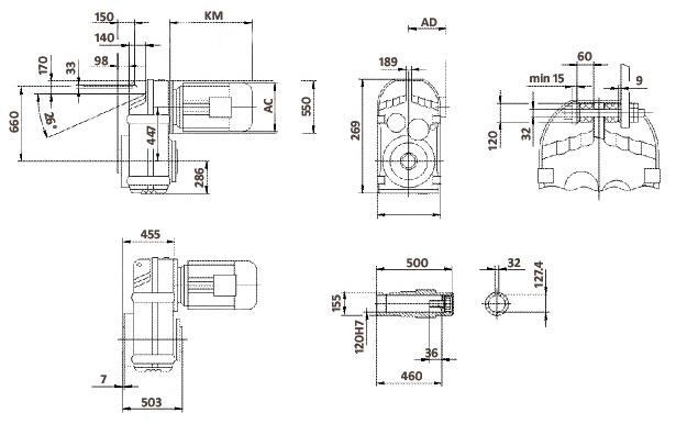 Размеры мотор-редуктора FA157 (полый вал)