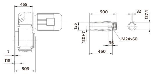 Размеры мотор-редуктора FA157B (лапы / полый вал)