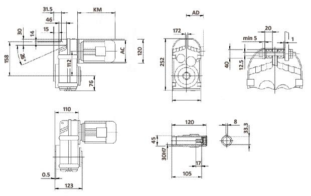 Размеры мотор-редуктора FA37 (полый вал)