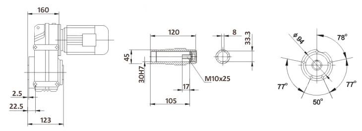 Размеры мотор-редуктора FA37B (лапы / полый вал)
