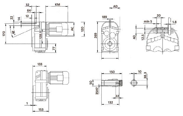 Размеры мотор-редуктора FA47 (полый вал)
