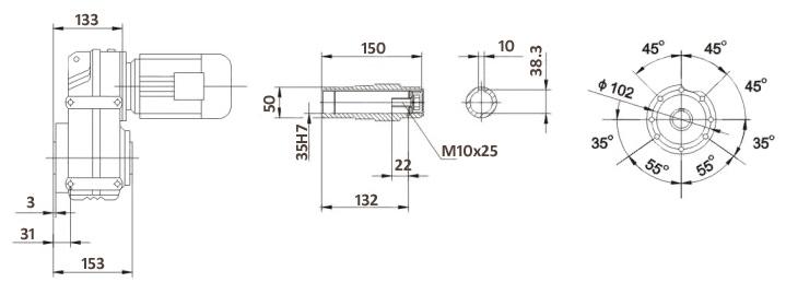 Размеры мотор-редуктора FA47B (лапы / полый вал)