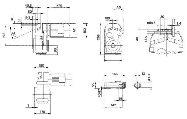 Размеры мотор-редуктора FA57 (полый вал)