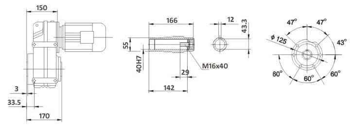 Размеры мотор-редуктора FA57B (лапы / полый вал)
