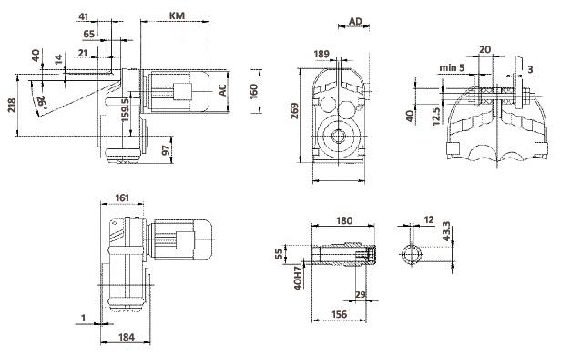 Размеры мотор-редуктора FA67 (полый вал)
