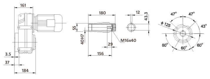 Размеры мотор-редуктора FA67B (лапы / полый вал)