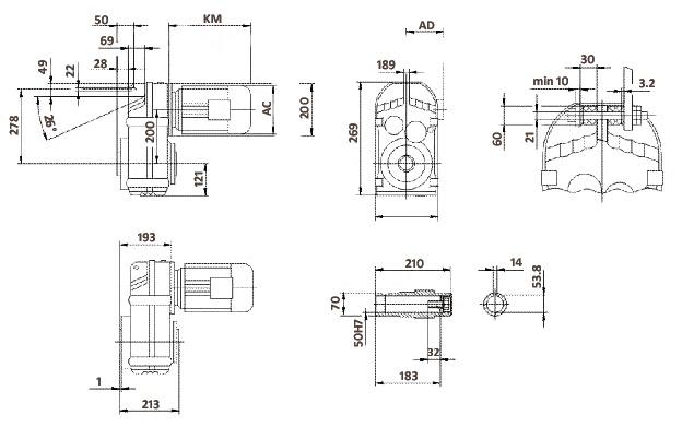 Размеры мотор-редуктора FA77 (полый вал)