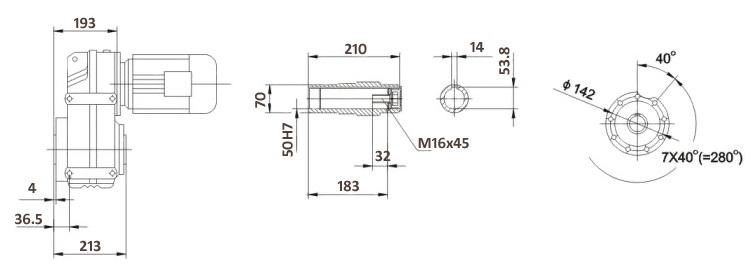 Размеры мотор-редуктора FA77B (лапы / полый вал)