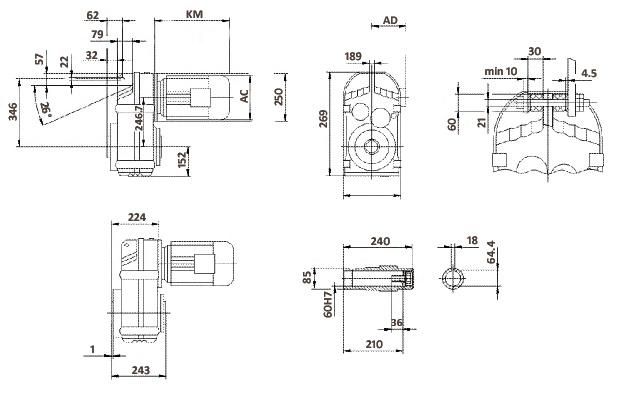 Размеры мотор-редуктора FA87 (полый вал)