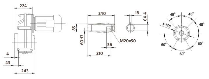 Размеры мотор-редуктора FA87B (лапы / полый вал)
