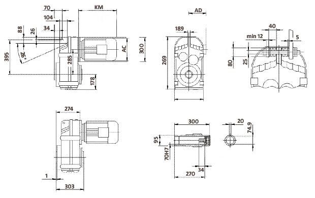 Размеры мотор-редуктора FA97 (полый вал)