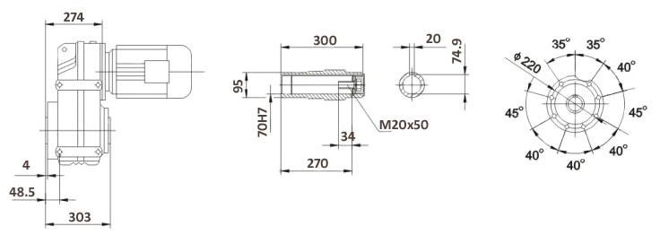 Размеры мотор-редуктора FA97B (лапы / полый вал)
