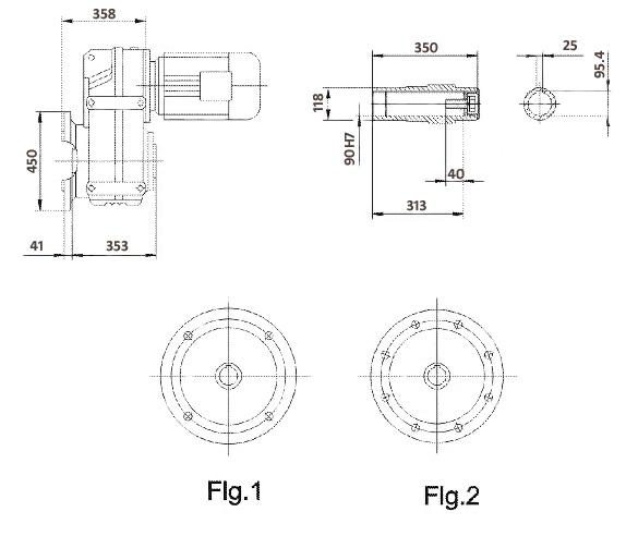 Размеры мотор-редуктора FAF107 (фланец / полый вал)