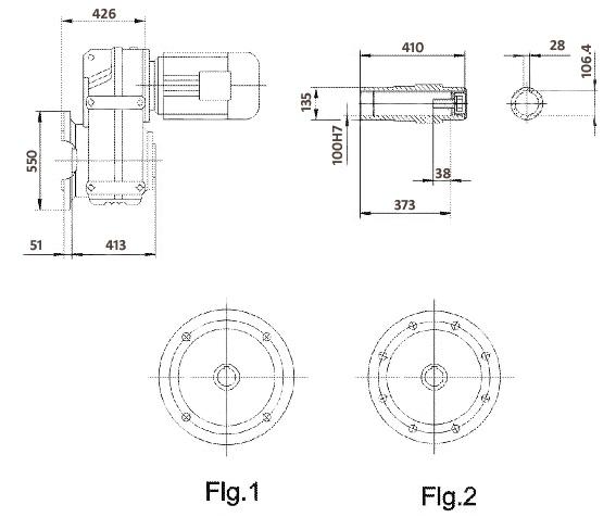 Размеры мотор-редуктора FAF127 (фланец / полый вал)