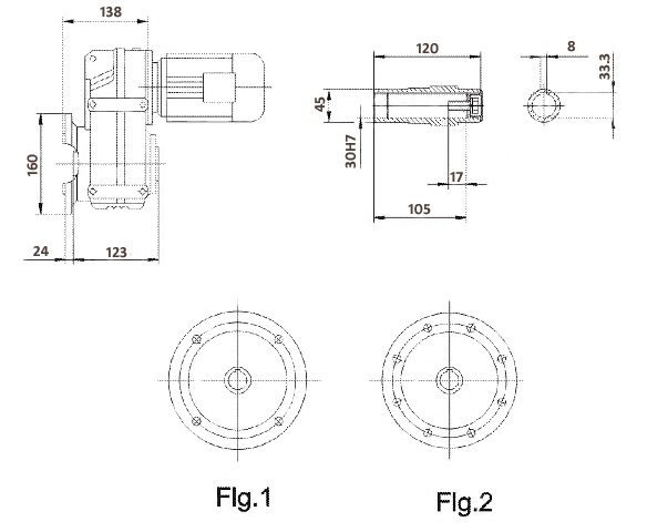Размеры мотор-редуктора FAF37 (фланец / полый вал)