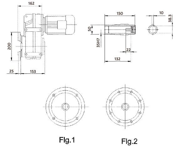 Размеры мотор-редуктора FAF47 (фланец / полый вал)
