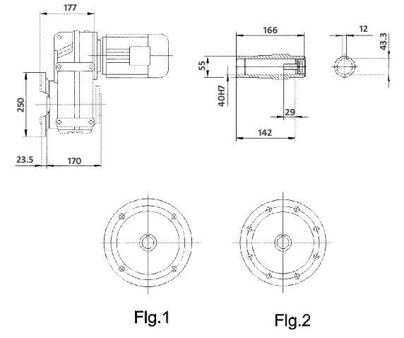 Размеры мотор-редуктора FAF57 (фланец / полый вал)